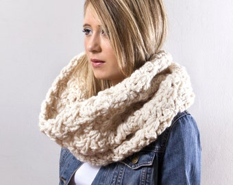 The Go Cowl- Chunky Crochet in Winter White