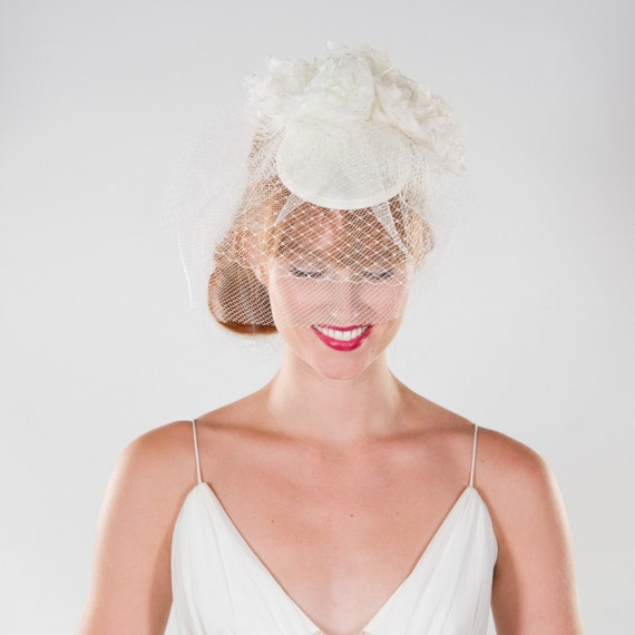 Bridal, Birdcage, Veil, Fascinator, with Handmade Flowers