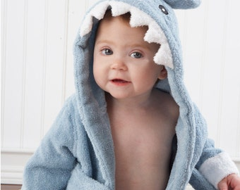 """Infant's Personalized """"Let the Fin Begin"""" Shark Spa Robe - Blue"""