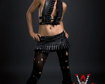 Black Rubber Ruffle Halter CUSTOM TO YOU for Punk, Mad Max, Burning Man, Festival Costume