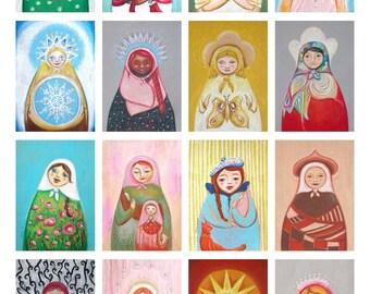 Matryoshka canvas print - 5/7 inches folk art. Choose your favorites.
