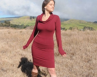 Pencil Skirt - Fitted Skirt - Ruby - Garnet - Burgundy - Red - Organic Clothing - Eco Friendly