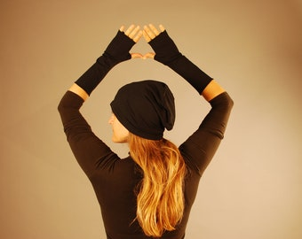 Fingerless Gloves and Hat Set - Arm Warmers - Black - Organic Clothing - Eco Friendly