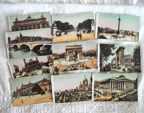Antique Paris Travel Postcards Collection