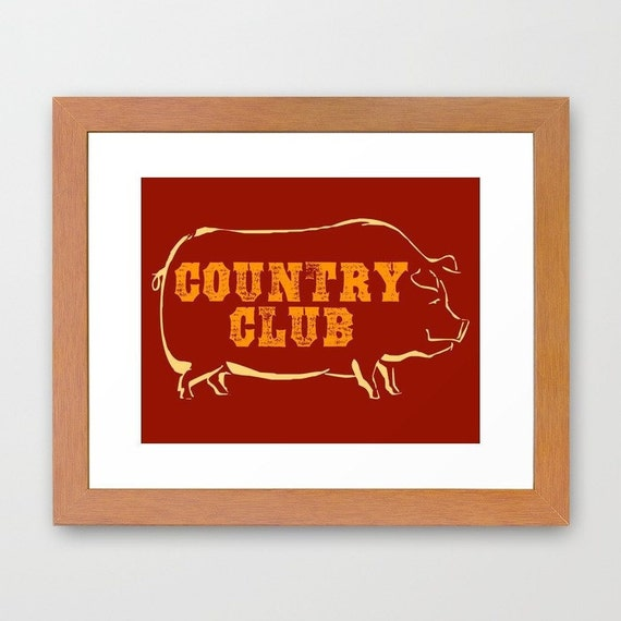 Typographic art pig kitchen decor country club by Pig kitchen decor