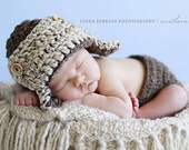 The Aviator Hat in Barley and Oatmeal Available in Newborn to Adult Size- MADE TO ORDER