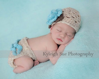 The Sofia Flower Beanie in Wheat, Aqua and Taupe with Matching Diaper Cover Available in Newborn to 24 Months Size- MADE TO ORDER