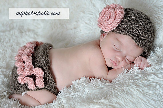 Vintage Inspired Flower Beanie and Ruffle Diaper Cover in Taupe and Baby Pink Available in Newborn to 12 Months Size- MADE TO ORDER