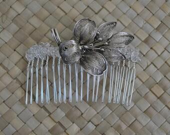 Vintage upcycled brooch - hair slide - Wedding - Alternative Bride - Bridesmaid