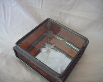 Vintage Glass Display Box with Flower Detail