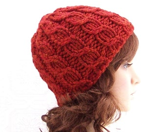 Instant download knitting hat pattern - Simple Cable Beanie pdf knitting pattern - Winter Fashion Winter Accessories Sandy Coastal Designs