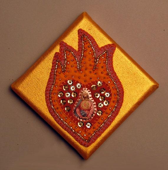 OOAK Sacred Heart Embellished Felt Pin Framed