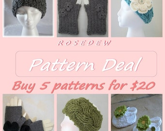 PDF CROCHET Pattern Deal: Buy 5 Patterns and Save