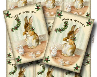Vintage CHRISTMAS BUNNY Tags Digital Collage Sheet Instant Download Printable Cards Scrapbooking Paper Crafts  Altered GalleryCat CS190