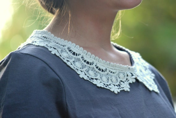 Crocheted Collar Knit Top // Storm Gray Embellished Tee // Snowflake Lace Collar