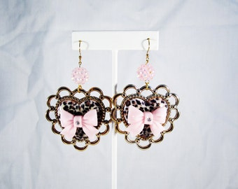 Punk Rock Pink Leopard Print Heart Earrings