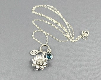 Lotus Necklace - Personalized Lotus Necklace, Birthstone, Initial Necklace, Lotus Blossom Necklace,Sterling Silver, Grandma, Mother Necklace
