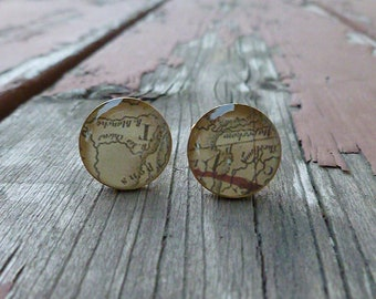 Vintage Map Resin Cuff Links (Cufflinks) Gold Plated