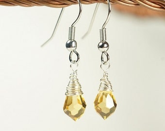 Yellow Earrings Silver Wire Earrings