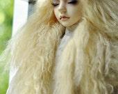 "10in"" long  Light Yellow Tibetan Mohair Wig for Volks BJD SD Dolls"