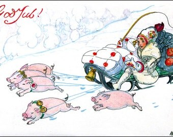 Christmas Greeting Card - Pigs Pull Sled in Snow - Aina Stenberg Image