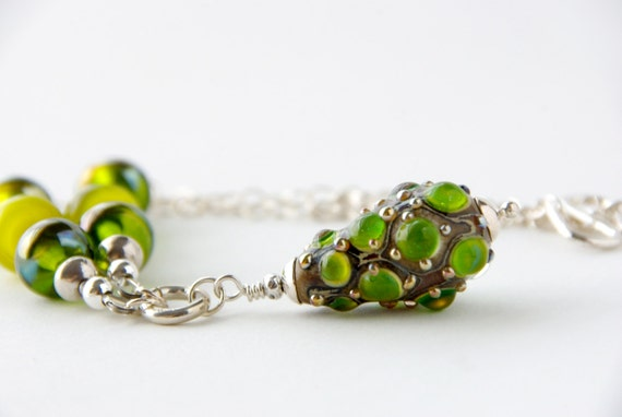 Green and Yellow Steampunk Lampwork Necklace, Glass Victorian Inspired Bohemian Elven Necklace, Boho Shabby Chic Jewelry