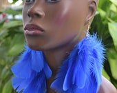 Blue Feather Earrings | Long Feather Earrings | Feather Jewelry | Real Feathers