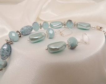 French Blue Crystal Necklace and Earrings
