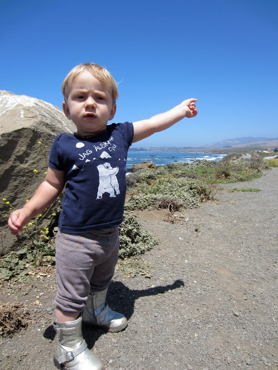 Polar Bears toddler shirt sz 12-18 months Screen Printed-Swedish I Love You- Jag Alskar Dig- Made in the USA