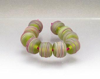 Handmade lampwork bead set Green glass bead set Matte green beads Green lampwork rainbow Cocoon Anne Londez  SRA