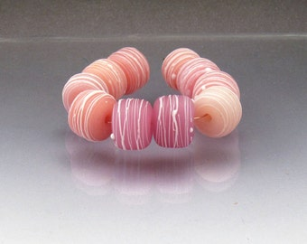 Lampwork glass bead set pink beads matte beads etched beads round beads Pink lampwork Pink glass beads cocoon Anne Londez SRA OOAK