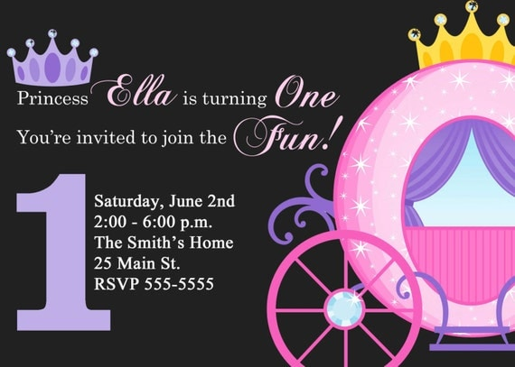 Princess Birthday Invitations with Carriage (Digital File)