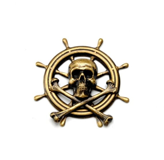 Pirate Jewelry Pirate Hat Pin Skull and Bones Pin Ship Wheel Pirate Outfit Jolly Roger Victorian Steampunk Jewelry By Victorian Curiosities