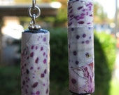 Flower power white with purple spots orchid design paper bead earrings