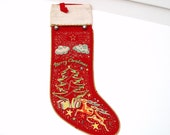 Vintage Christmas Stocking, Felt Christmas Decoration, 1950s Merry Christmas Stocking, Reindeers, Red White Blue, Yellow Orange, Jingle Bell