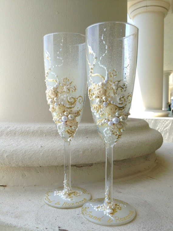 Wedding champagne glasses in ivory and white, wedding toasting flutes, wedding reception, bridal shower gift, custom glasses