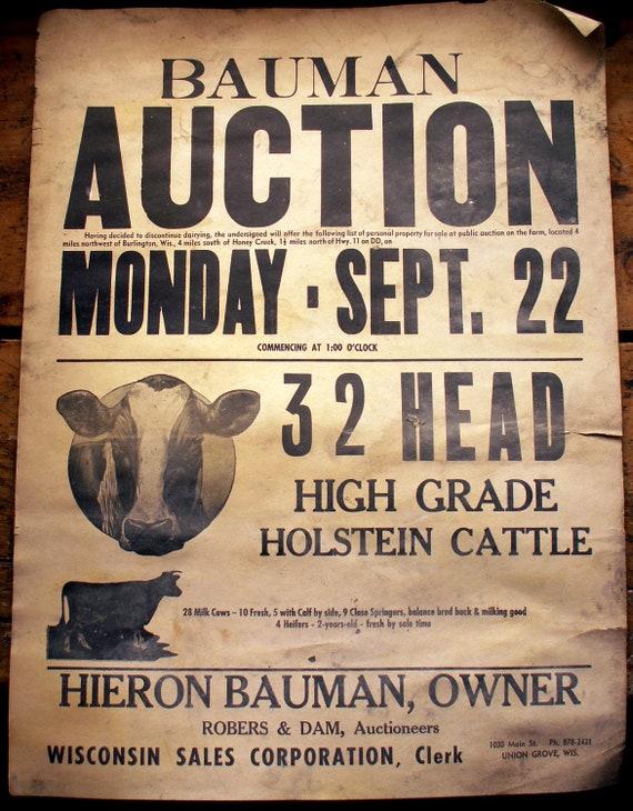 Large Vintage Cattle Auction Poster