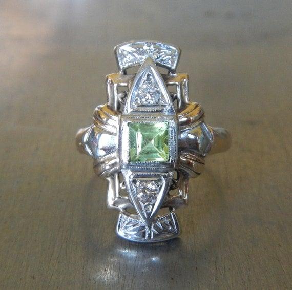 Art Deco Ring - Edwardian Engagement Ring - Antique Peridot Diamond Ring - Unique Engagement Ring - Statement Ring - Vintage