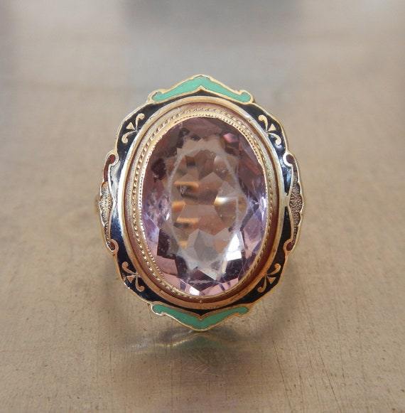 Antique Amethyst and Enamel Cocktail Ring -- FREE SHIPPING