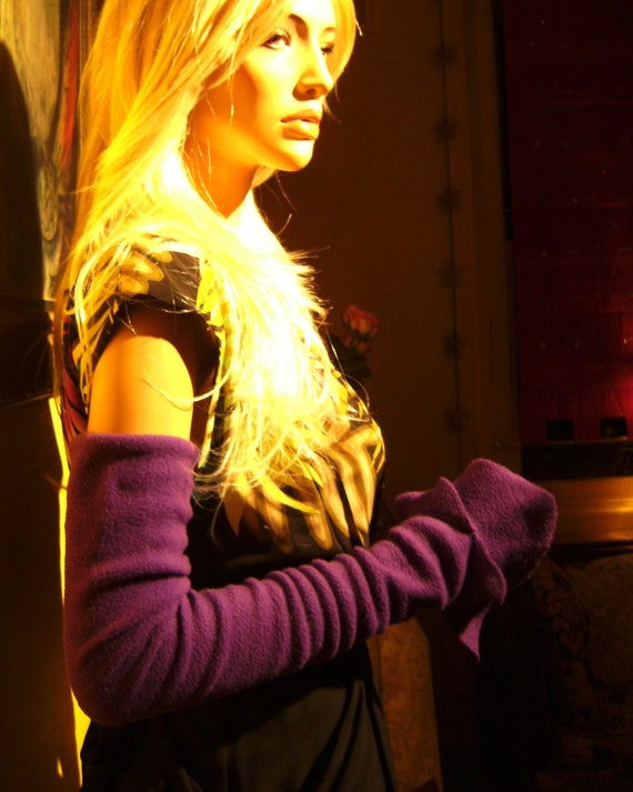 Elvin Arm Warmers - Large - Purple - EXTRA LONG Fingerless Gloves - Hand Made in London