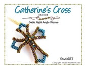 Beading Pattern Cubic Right Angle Weave Small Cross Gothic Style Tutorial CATHERINE'S CROSS
