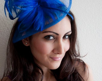 """Royal Blue Fascinator - """"Victoria"""" Twist Mesh Fascinator embellished with Fluffy Feathers on a Headband"""
