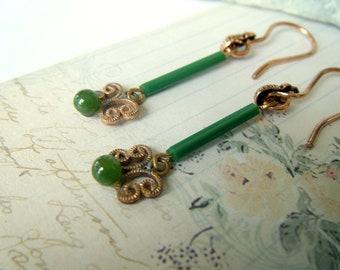 Natural Jade Victorian Earrings
