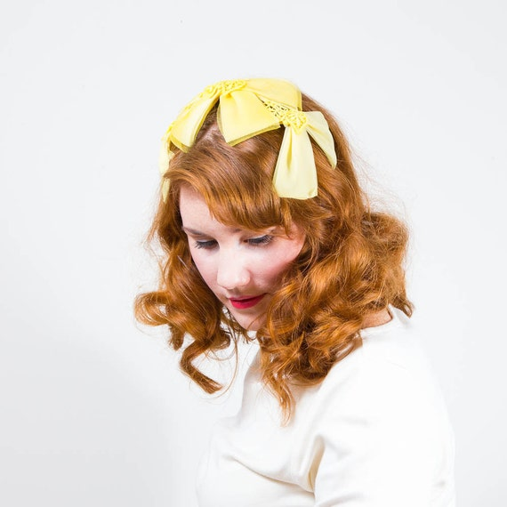 vintage 1950s hat / fascinator / Lemon Meringue