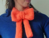 Bow Scarf Knit Pattern PDF - neckwarmer Knitting Pattern - Woman trendy orange Halloween Costume Accessory - Instant DOWNLOAD