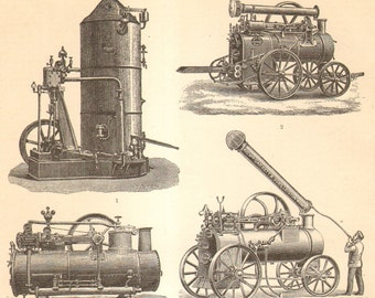 1893 Original Antique Engraving of Agricultural Engines - Steam-powered Tractors
