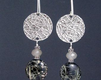 Black Jasper Dangle Earrings - Black and Tan Jasper Earrings - Gemstone Jewelry - Textured Silver Disc Earrings - Jasper and Crystal Beads