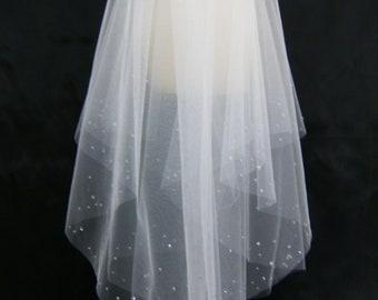 Wedding Veil Swarovski Crystal Rhinestone Edged Elbow Length Double Layer Up-Do Veil