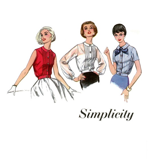1950s Blouse Pattern Simplicity 2456 Misses Overblouse with Waistband Bust 36 Womens Vintage Sewing Pattern UNCUT
