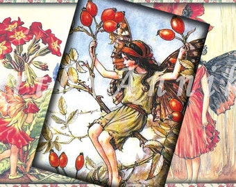 Flower fairies - 2,5x3,5 inch ATC, ACEO cards, Digital Collage Sheet for Scrapbooking